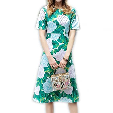CannerCA Fashion Runway Summer Dress Womens Short Sleeve Casual Green Floral Printed Beading Dress vestidos