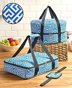 3-Pc. Carrier Bags for Slow Cookers, Casserole Dishes for Food - Blue Geometric