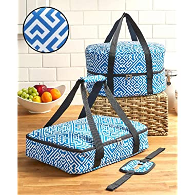 The Lakeside Collection 3-Pc. Carrier Sets - Blue Geometric