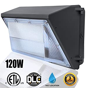LED Wall Pack Lights 120W,(5000K Daylight Wall Pack),Commercial and Industrial Outdoor Wall Pack Lighting 500~600W HPS/HID Bulb Replacement Waterproof LED Flood Light