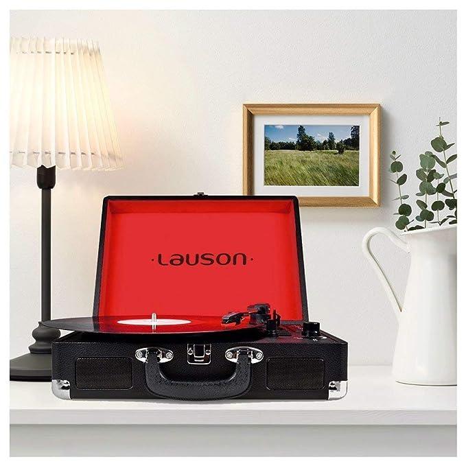 Lauson Tocadiscos Maletín, con función Bluetooth, USB ...