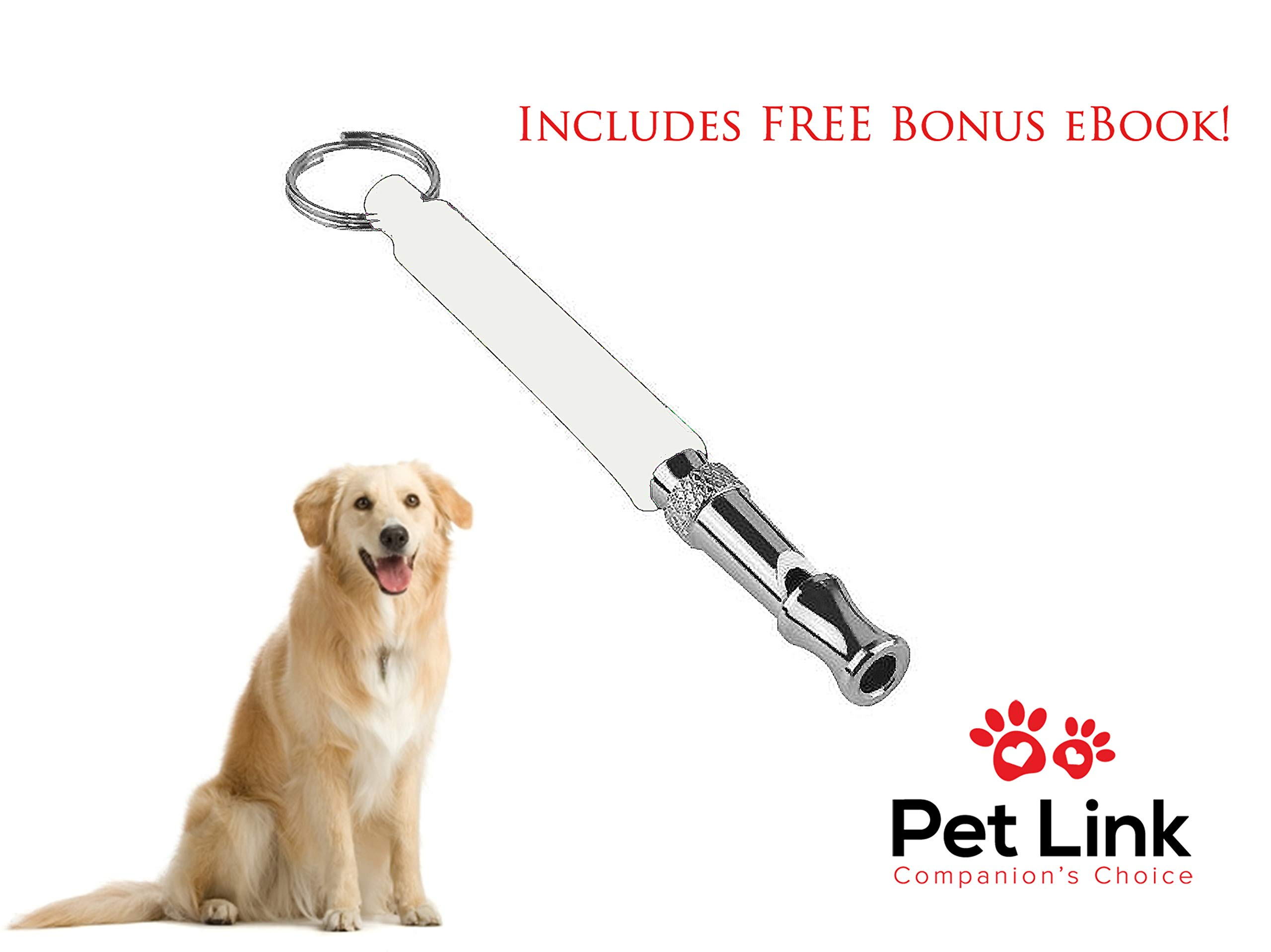 Pet Link Dog Whistle - Stop Barking - Increase Obedience, Yapping, Howling - Adjustable Pitch Tool - Ultrasonic Sound Waves Safe for Dogs - Includes Free Premium Lanyard (White)