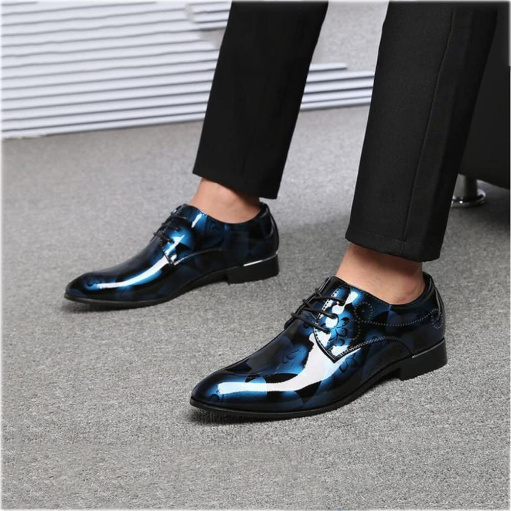 Yaxuan Mens Shoes Leather Business Shoes,Pointed Toe Dress Shoes,Spring//Fall Comfort Formal Shoes//Party /& Evening//Printed,A,43