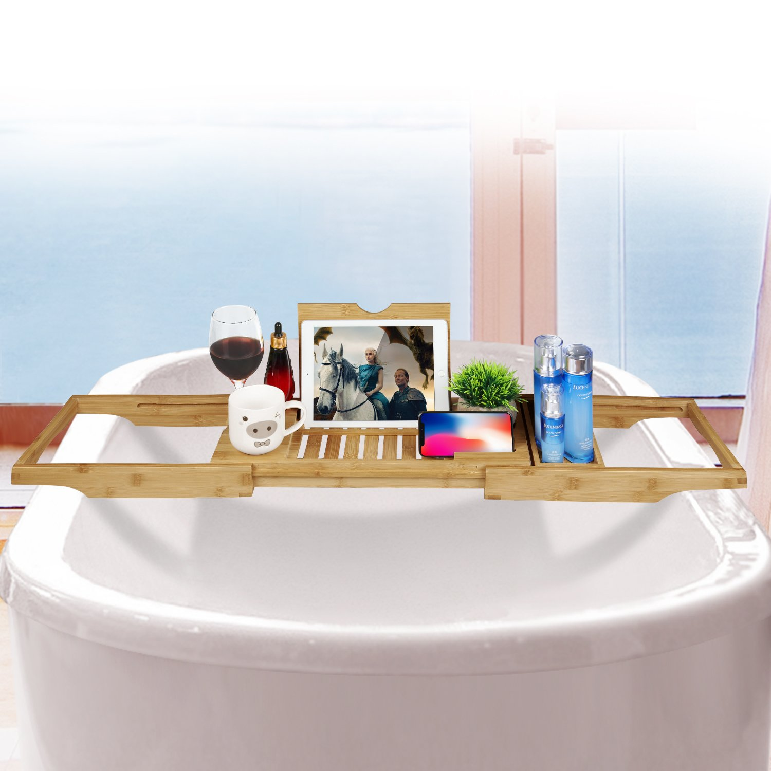 HappiHause Bathtub Caddy Rack & Laptop Bed Desk 2 in 1 Transforms ...