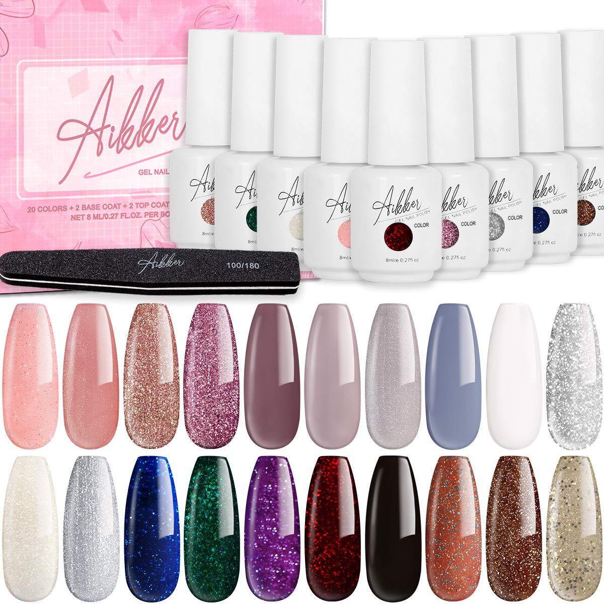 Aikker 20+5 Gel Nail Polish Kit 20 Colors 8ml Soak Off UV Nail Gel with Base and No Wipe Top Coat for Nail Salon Grace Set AK24