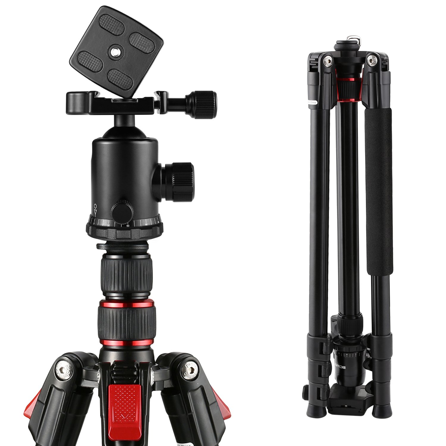 BC Master Camera Tripod Dslr, 75-inch Tall and Portable Aluminum Alloy TA333 with Carrying Bag, 2018 NEW 360°Ball Head, Bubble Level, Quick Release Plate for Canon Nikon, Weight: 3.17lbs/1.44Kg