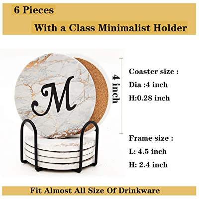 Set of 4 Personalized Coaster Marble Coaster Ceramic Coaster Bar Coaster Cats Stone Coaster Monogram Coaster Cup Coaster