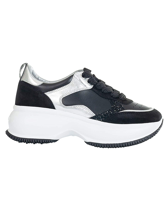 - Hogan Women's HXW4350BN50K0Z0353 Black Leather Sneakers