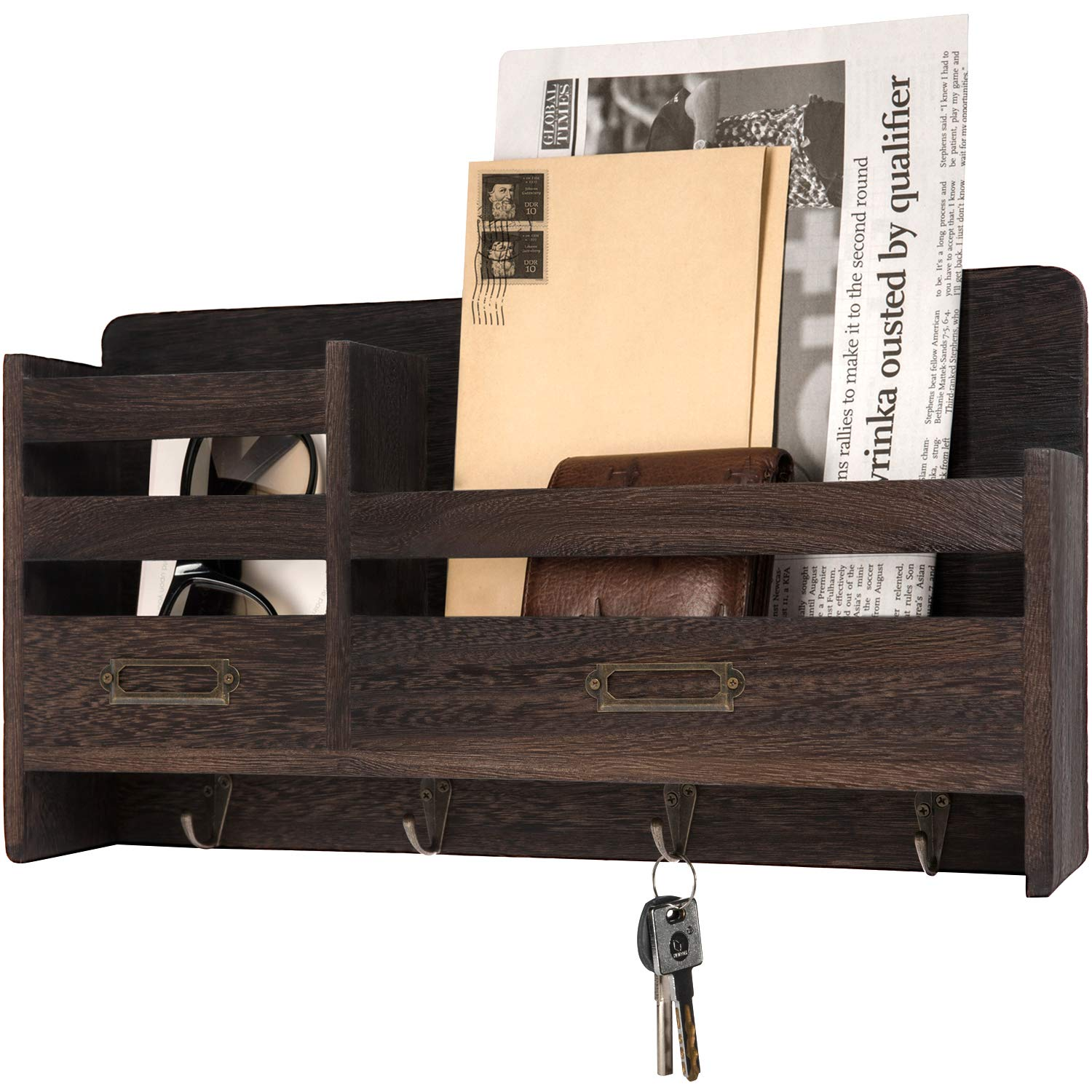 Mkono Mail Sorter Organizer Wood Key Holder Organizer for Wall, Rustic 2-Slot Wall Mail Holder with Tags Frame & 4 Key Hook Rack for Entryroom, mudroom,Hallway, Kitchen, Office,Dark Brown by Mkono