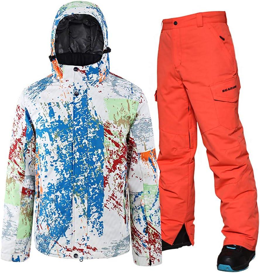 Two Piece Ski Suit for Men Colorful Ski Warm Coat Snow Jacket and Orange Pants Set Windproof Waterproof Snow Suit