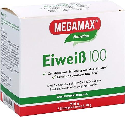 MEGAMAX - Eiweiss - Proteínas de suero de leche y proteínas lácteas - Crecimiento muscular y dieta - Valor biológico aprox. 100 - Plátano - 7 x 30 g
