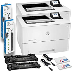 2 x HP Laserjet Enterprise M507dn Monochrome Laser Printers with Duplex Printing (1PV87A) with 2 x Power Strip Surge Protectors and Electronics Basket Cleaning Cloth TM