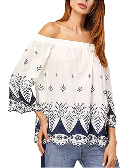c30676325 ZANZEA Women's Off the Shoulder Flare Bell Sleeve Floral Printed Elegant  Blouse Tee Tops Off White