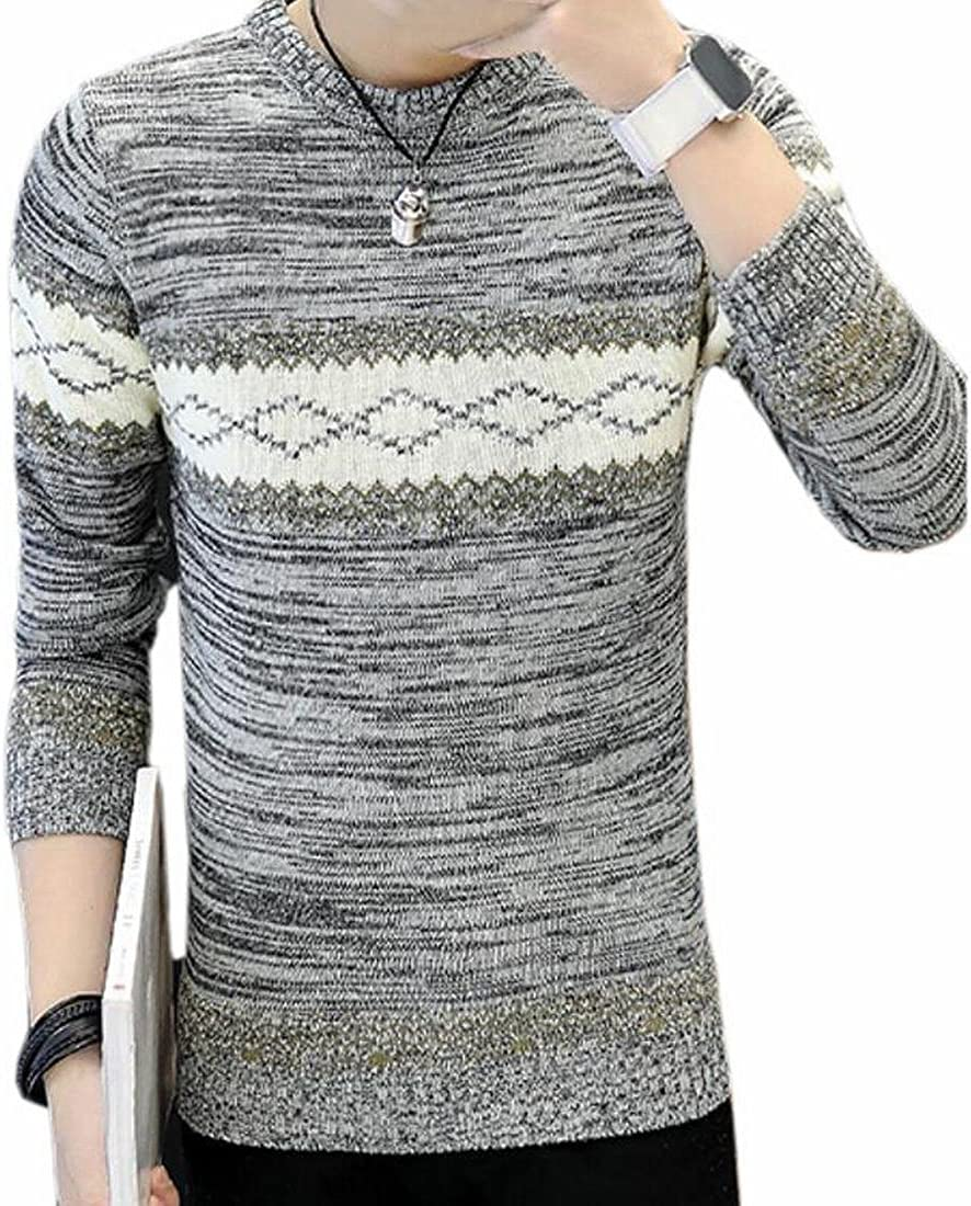 ZXFHZS Mens Fashion Floral Print Contrast Color Round Neck Sweater