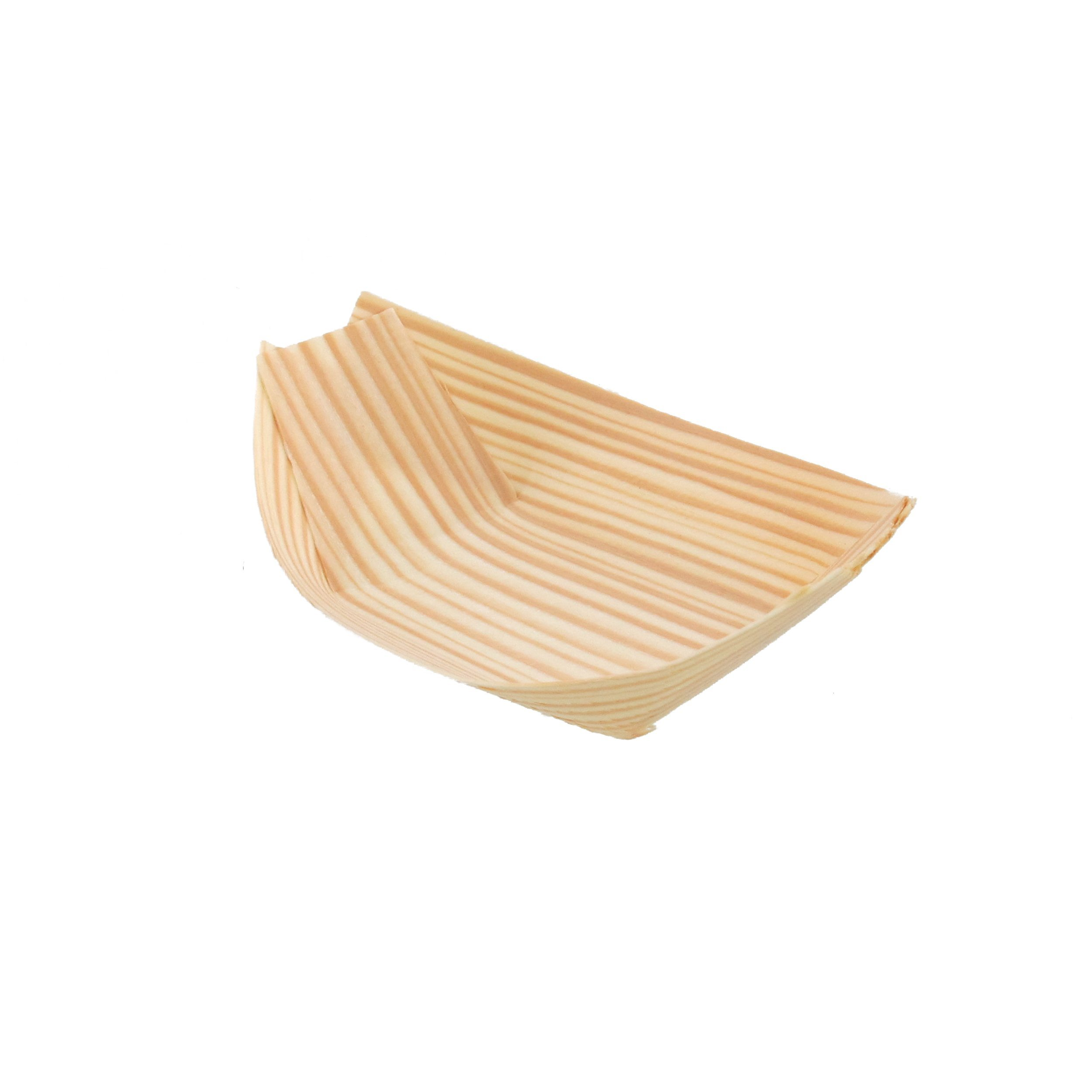 BambooMN Brand - Disposable Wood Boat Plates / Dishes, 4.3'' Long x 2.5'' Wide x 1'' High, 100 Pieces