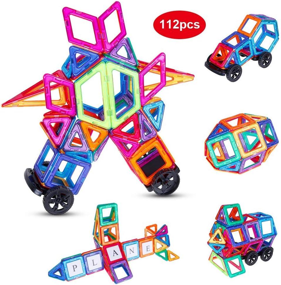 Anpro 112 Piezas Bloques de Construcción Magnéticos con Letra y Número,Juegos Imantados, Juguetes educativos y Creativos como Regalos para Niños en Fiestas y Cumpleaños: Amazon.es: Juguetes y juegos