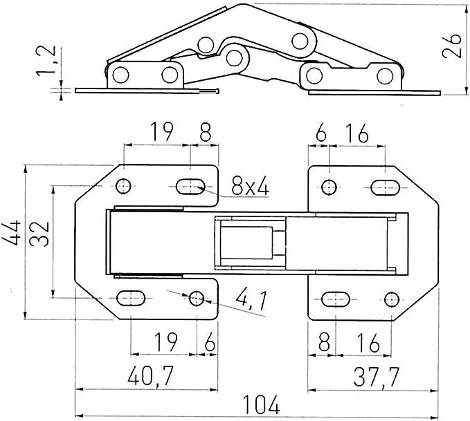 2 x SO-TECH/® Bisagra para Atornillar sobre el Frente Mueble 77,4 x 32,8 mm Bisagra de Mueble con Muelle