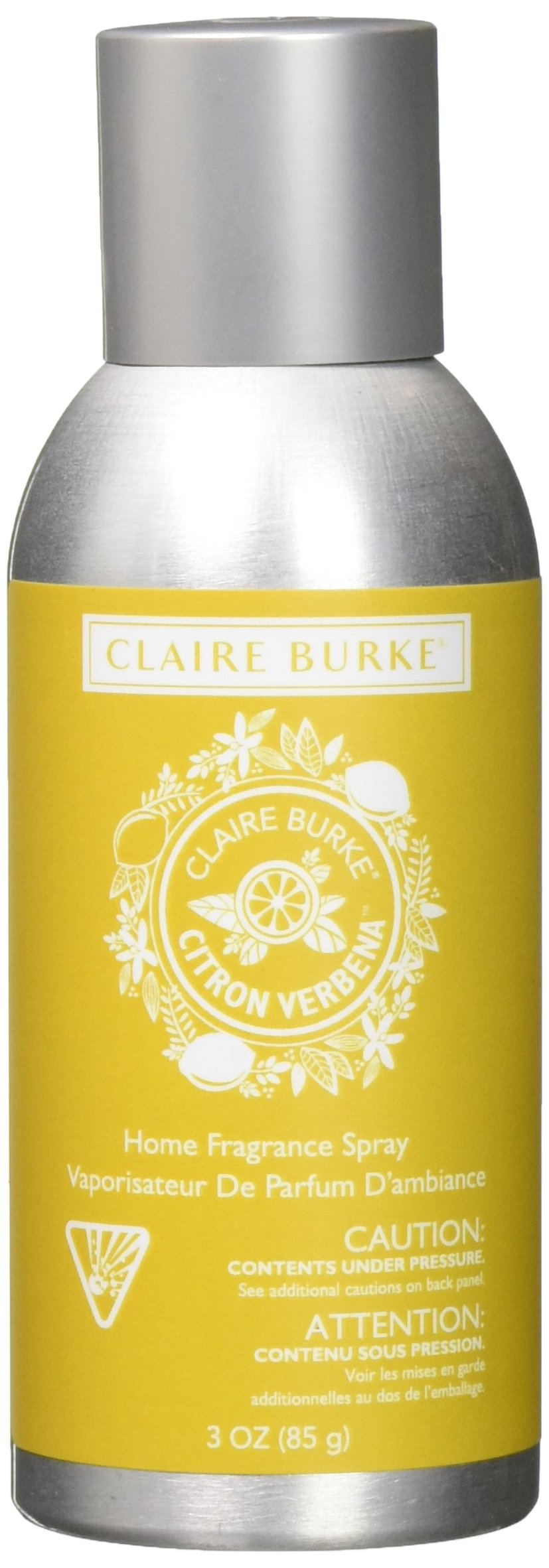 Claire Burke Sparkling Citron Verbena Spray Kitchen Décor Fragrance/Home Scent, Small, Yellow