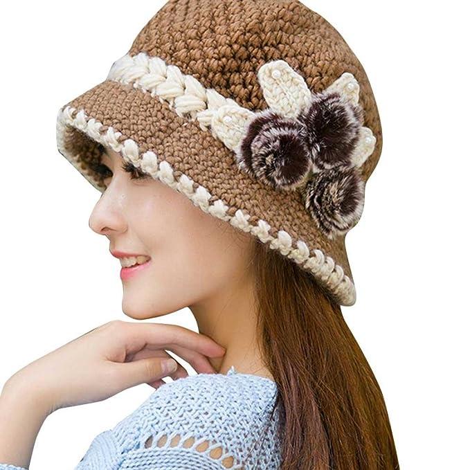 IMJONO Gorros Mujer Invierno Crochet Navidad Sombreros Vintage Boda Fiesta Playa con Flores De Punto De. Pasa ...