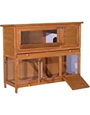 PawHut 2 Tier Elevated Wooden Rabbit Hutch Bunny House Chicken Coop Small Animal Cage w/Sliding-Out Tray