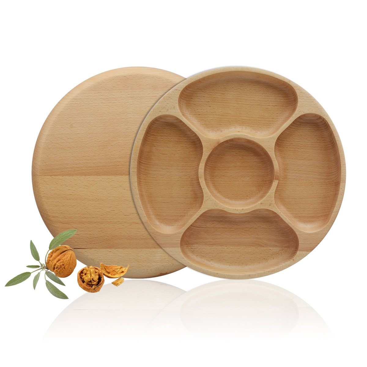Saim Bamboo Snacks Plates Round Serving Trays Food Container Cookies Candy Nuts Fruit Specialty Plates with 5 Sections 0180116
