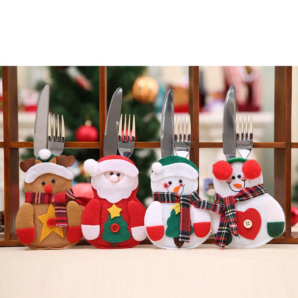 CHoppyWAVE Cutlery Pouch, Santa Claus Pattern Cutlery Holder Utensil Bag Fork Knife Pocket Xmas Decoration - A6-2-1 Tree Santa Claus by CHoppyWAVE (Image #6)