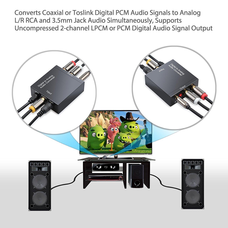 Neoteck Convertidor de Audio Digital a Analágico Coaxial Óptico Toslink Señal a Adaptador de Audio Analágico RCA L/R con Salida de Jack de 3,5 mm para HDTV ...