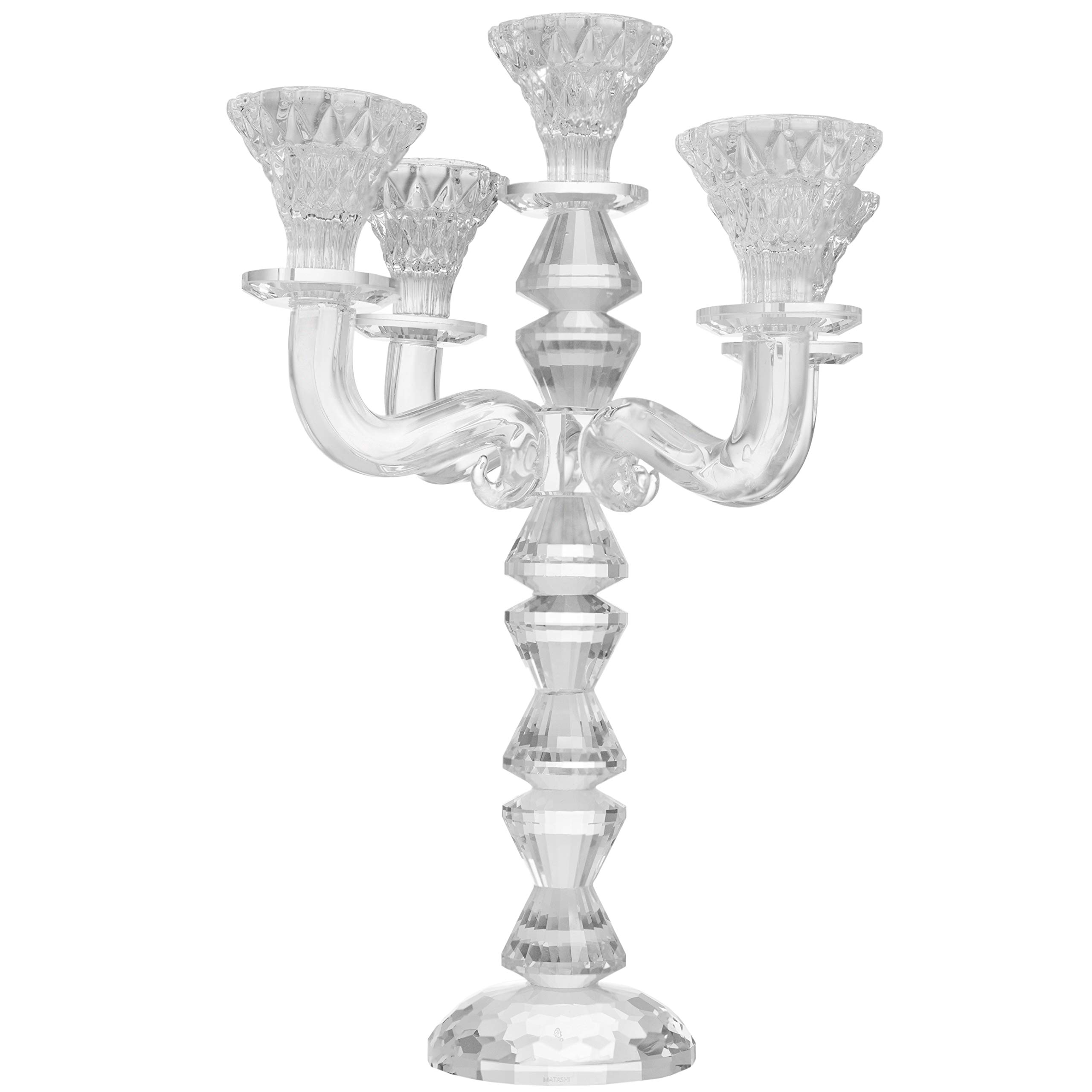 Matashi Crystal Candelabra Candlestick Holder Elegant Glass Table Top Decoration and Home Décor Piece | Kitchen, Dining Room, or Living Space (5 Stick Candelabra)