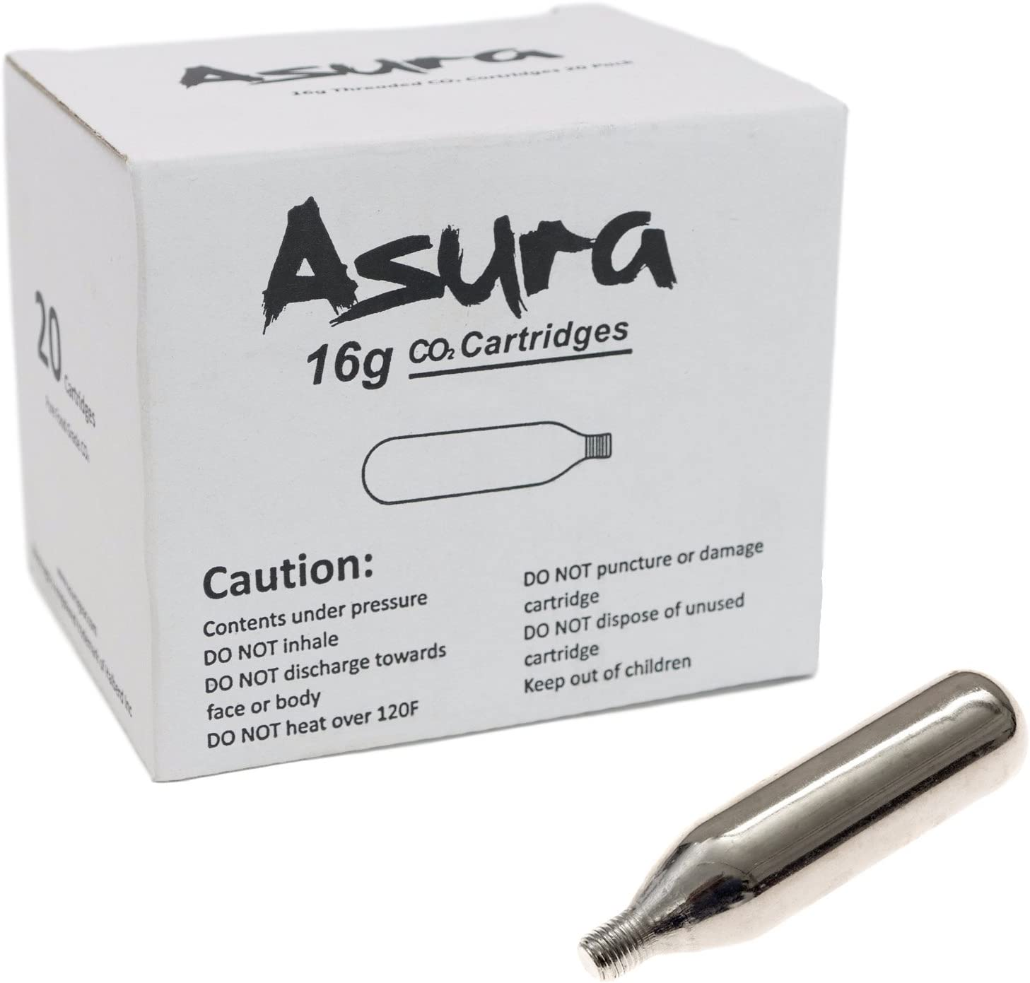 Asura 16 Gram CO2 Threaded Cartridges 20 Count