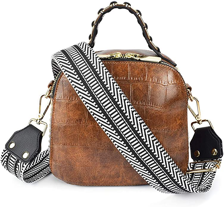 Brown Simple Style Cross Body Strap Shoulder Strap Adjustable Replacement Strap PU Leather Strap for Handbags Strap Purse Bag Strap