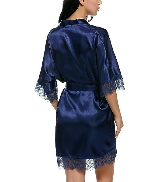 Keland Mujeres Bata Satén y Encaje con Cinturón Kimono Ropa de Dormir Elegante: Amazon.es: Ropa y accesorios