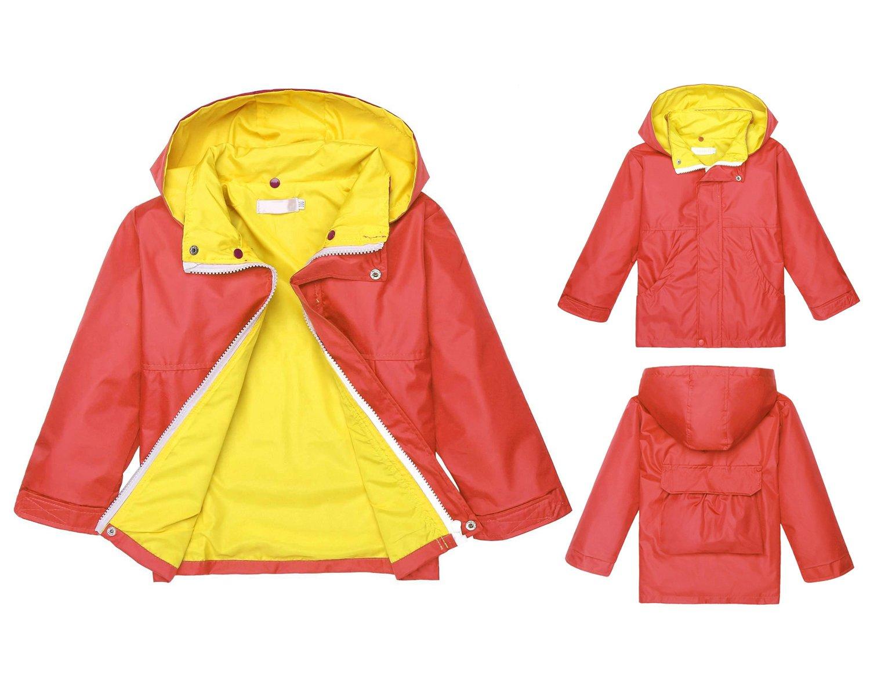 Jingjinig1 Children's Lightweight Long Sleeve Rain Jacket with Hooded Outwear (110, Watermelon Red)