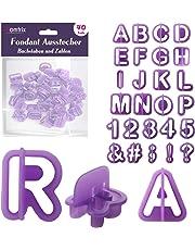 Homtrix Fondant Ausstecher Set - Buchstaben & Zahlen, Ausstechformen zum Torten, Kuchen Dekorieren und Backen - 40 Teiliges Alphabet Backzubehör für Tortendeko