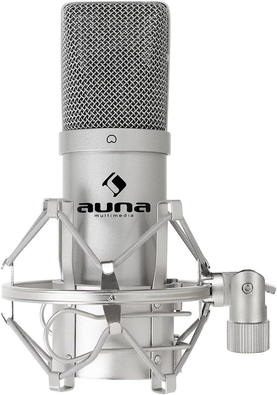 auna MIC-900S - Micrófono Condensador USB, Patrón Polar cardioide, Carcasa metálica, 30Hz-18kHz, Cápsula Electret 16 mm, Plug & Play, Araña con Adaptador 3/8