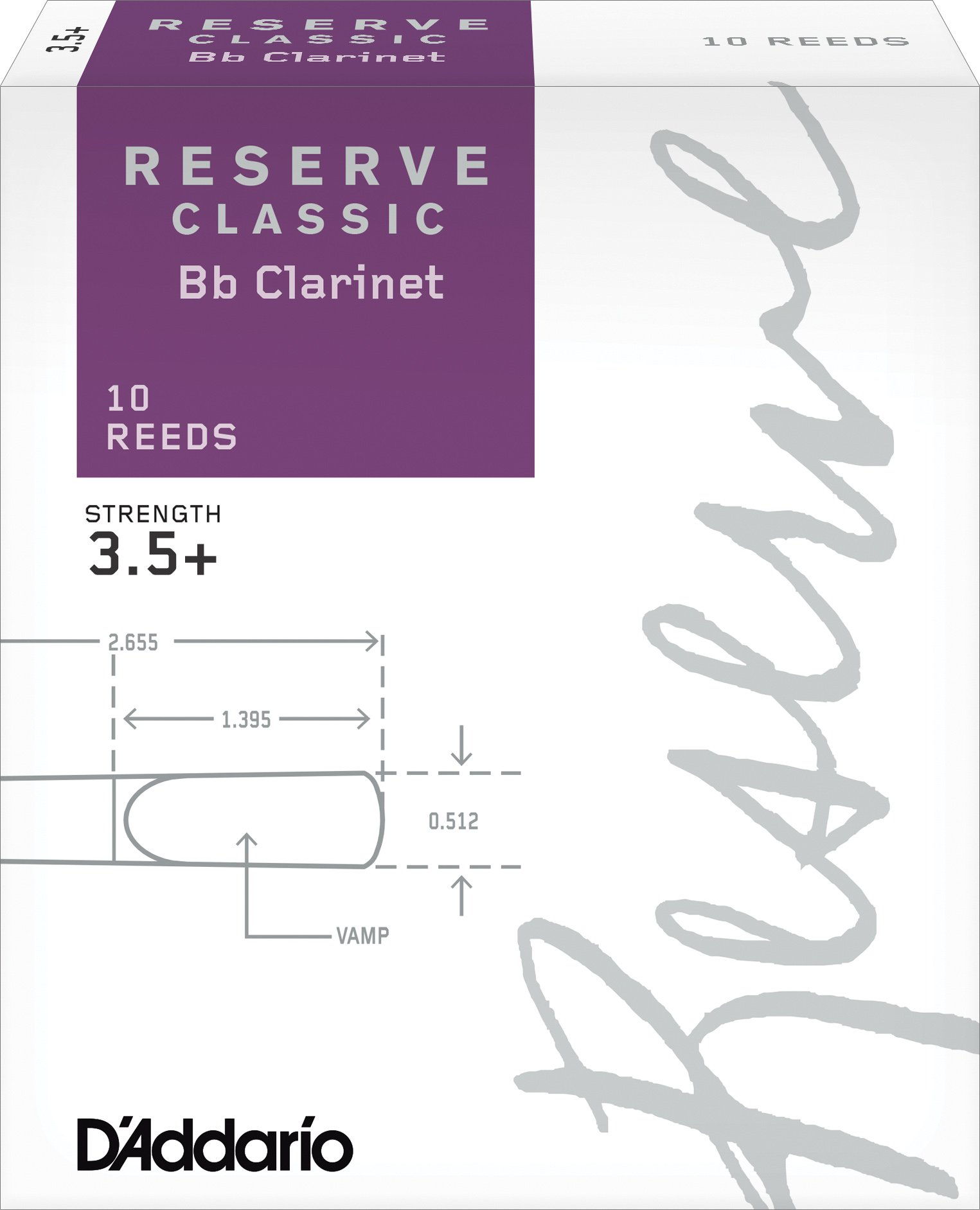 D'Addario Reserve Classic B♭ Clarinet Reeds, Strength 3.5+ (10-Pack) – Thick Blank Reed Offers a Rich, Warm Tone, Exceptional Performance and Consistency – Ideal for Advanced Students or Professionals