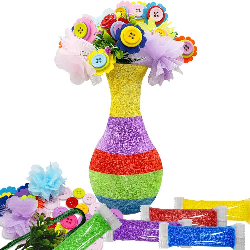 Fun Kids Crafts Arts,DIY Set Craft Vase Snowflake Mud Button Party Activity Children Age 4 5 6 7 8 9 10 Years Old Activities Birthday Gift Motiloo Creates Your Own Vase and Felt Flower Set