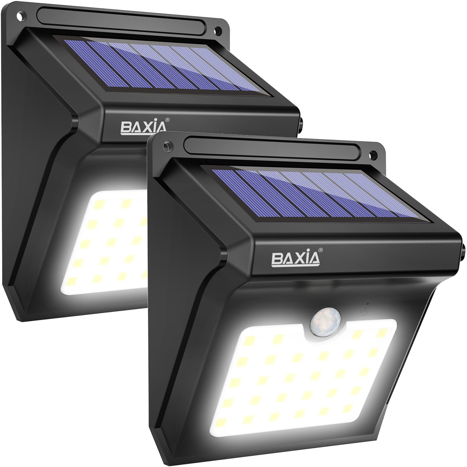 BAXiA Solar Lights 28 LED,Upgraded Solar Powered Security Lights,Waterproof Wireless Motion Sensor Outdoor Lighting for Front Door,Outside Wall,Patio,Yard,Fence,Garden,Pathyway,Driveway (400LM,2 Packs) [Energy Class A+++] GLS-B-UKSL28-2
