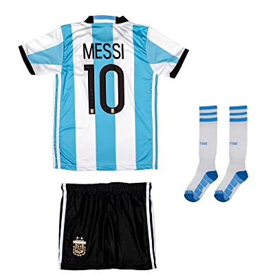 AMDS Soccer Youth Jersey Set ● Argentina ● Home Jersey with Long Socks ● Euro 2016 ● # 10 Messi
