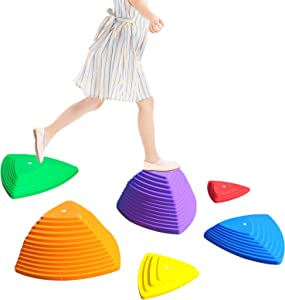 Malifea Stepping Stones for Kids Balance Non-Slip 6 Pcs | Stepping Rocks & Coordination Enhanced Safety Foot Grips Indoor Outdoor Play Equipment
