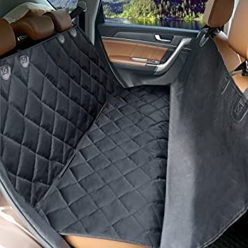 MKQPOWER Car Dog Seat Covers Black Pet Mat With Adjustable Anchors Waterproof Machine
