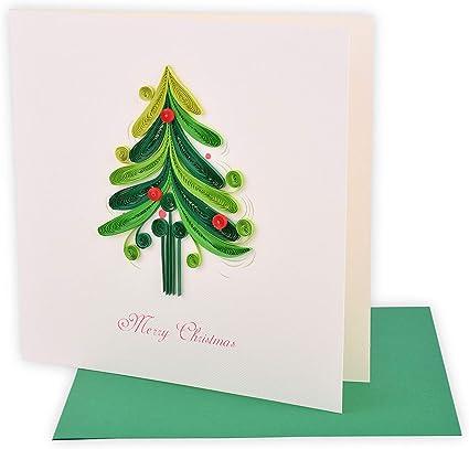 Pack de 2) Tarjeta de filigrana hecha a mano, Christmas - Tree 03 (en colección de tarjeta de cumpleaños, amor, tarjeta de agradecimiento, tarjeta de San Valentín, tarjeta de flores): Amazon.es: Oficina