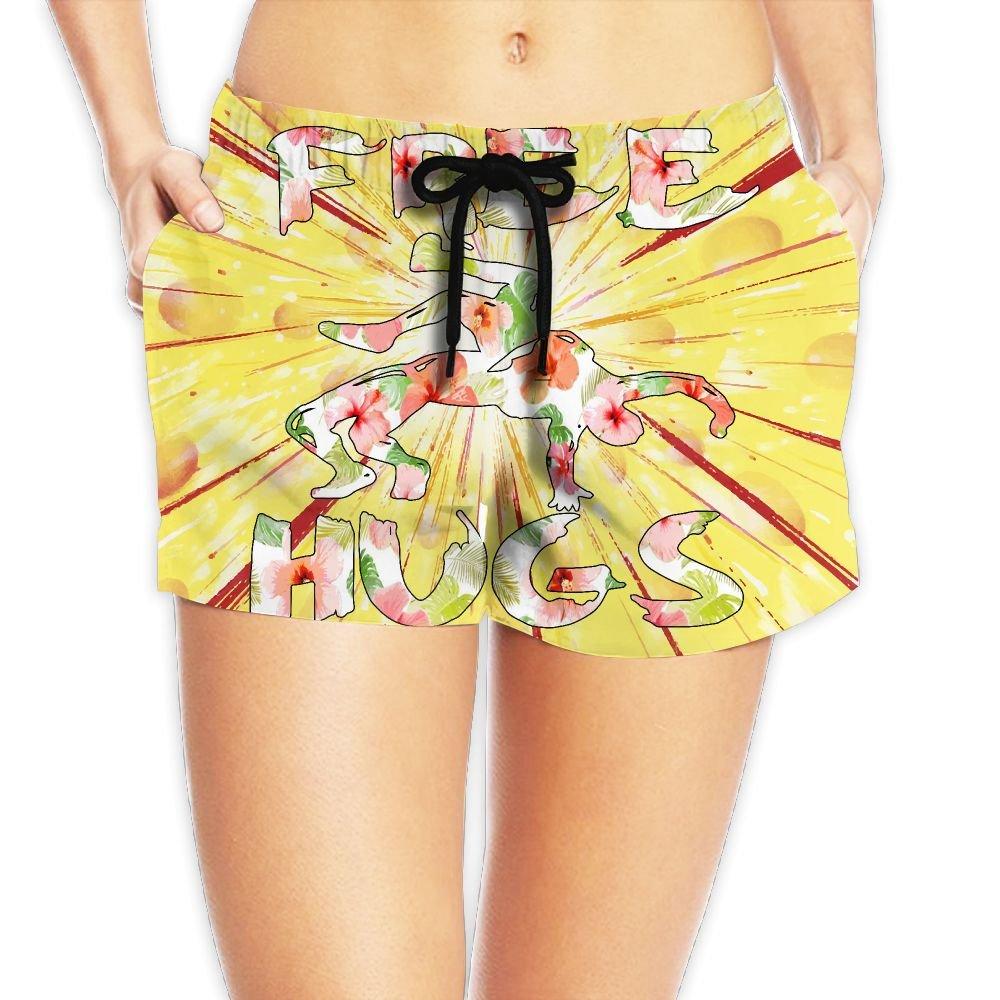 Deear Free Hugs Youth Wrestling Gift Flower Women's Quickly Drying Beach Waist Elastic Shorts Swim Trunk Boardshorts Swimwear With Pocket L by Deear
