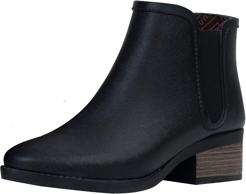 UNICARE Women's Chelsea Rain Boots Waterproof Slip on Shoes Nonslip Short Ankel Boots Rubber Rain Footwear Handmade