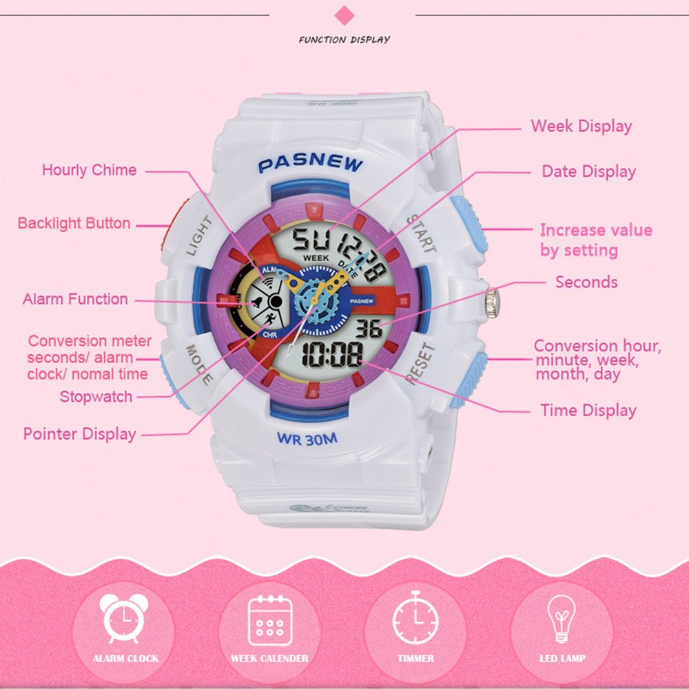 PASNEW Kids Watch Multi Function Digital-Analog Sport Watches for 7-Year Old or Above Children-Pink by PASNEW (Image #3)