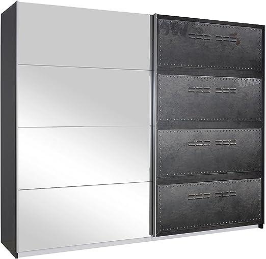 Armario de puertas correderas work base efecto metálico - indio: Amazon.es: Hogar
