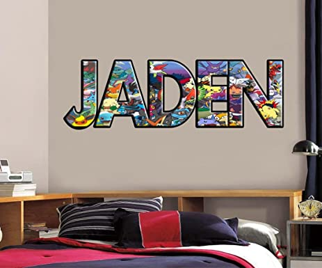 Personalized any name pokemon decal removable wall sticker pikachu ash h710 giant