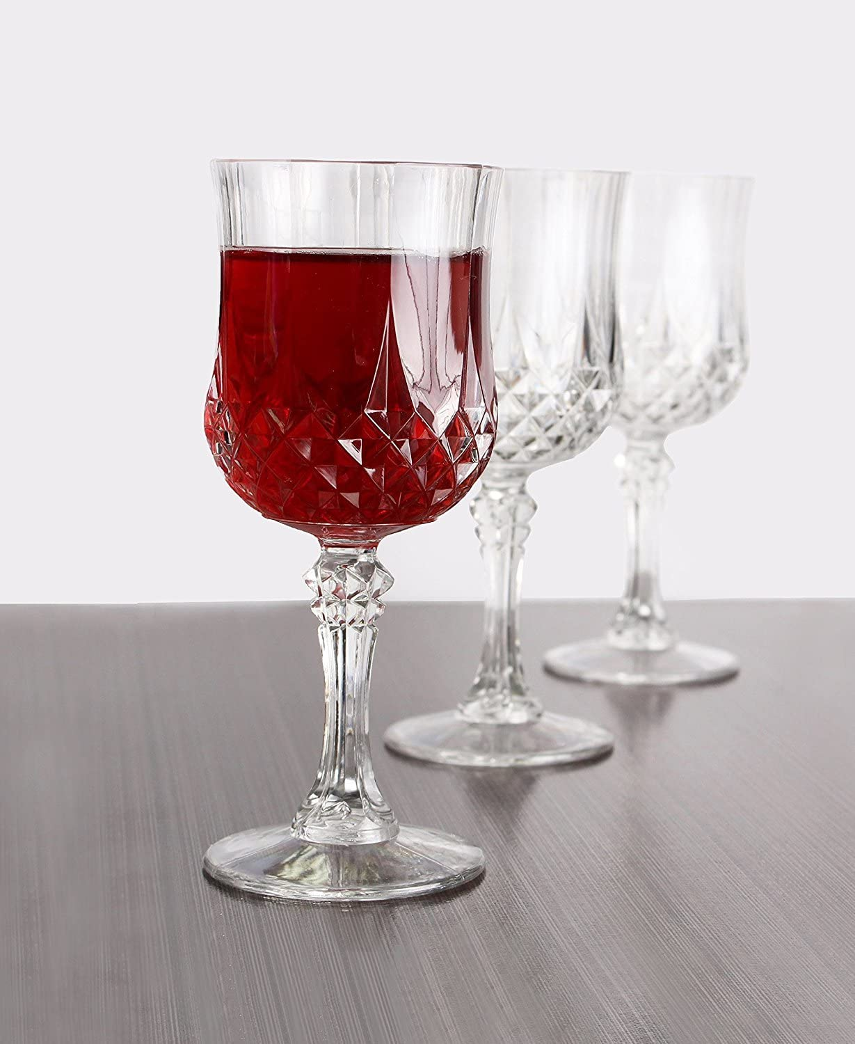 Elegant design Picnics Crystal-like Hard Unbreakable Disposable Plastic Perfect for Weddings Barbecues and other Events Simcha Collection Wine Glasses Size 8 Oz Pack of 4 bst COMINHKPR91016