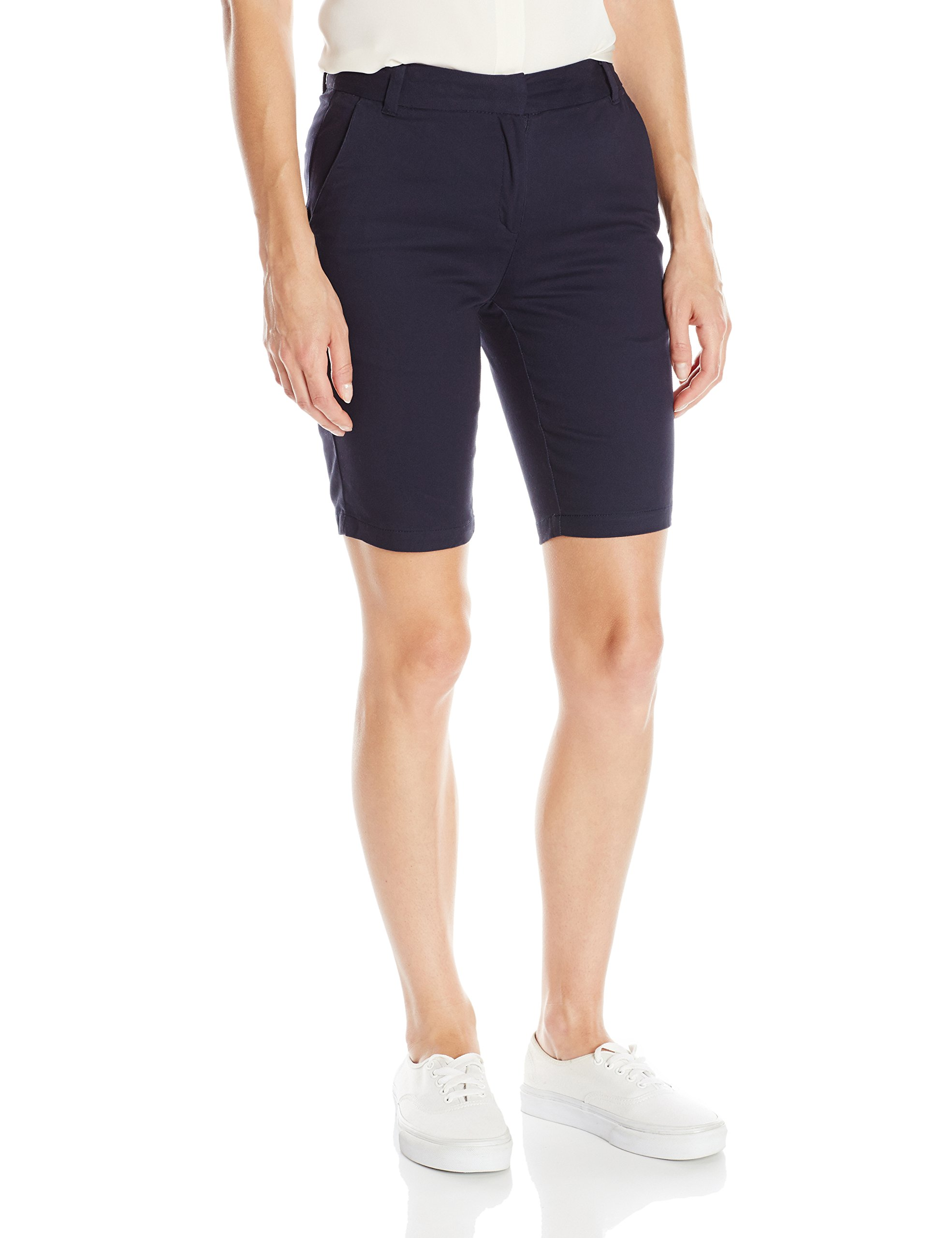 IZOD Junior's Uniform Stretch Twill Skinny Bermuda Short, Navy, 9