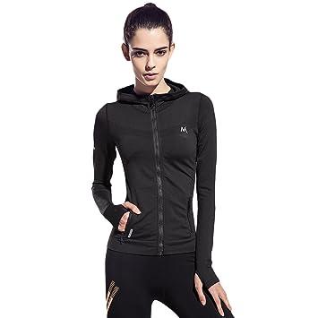 46642edcc SEEU Running Tops Womens Long Sleeve Sport Shirts with Zipper Black S