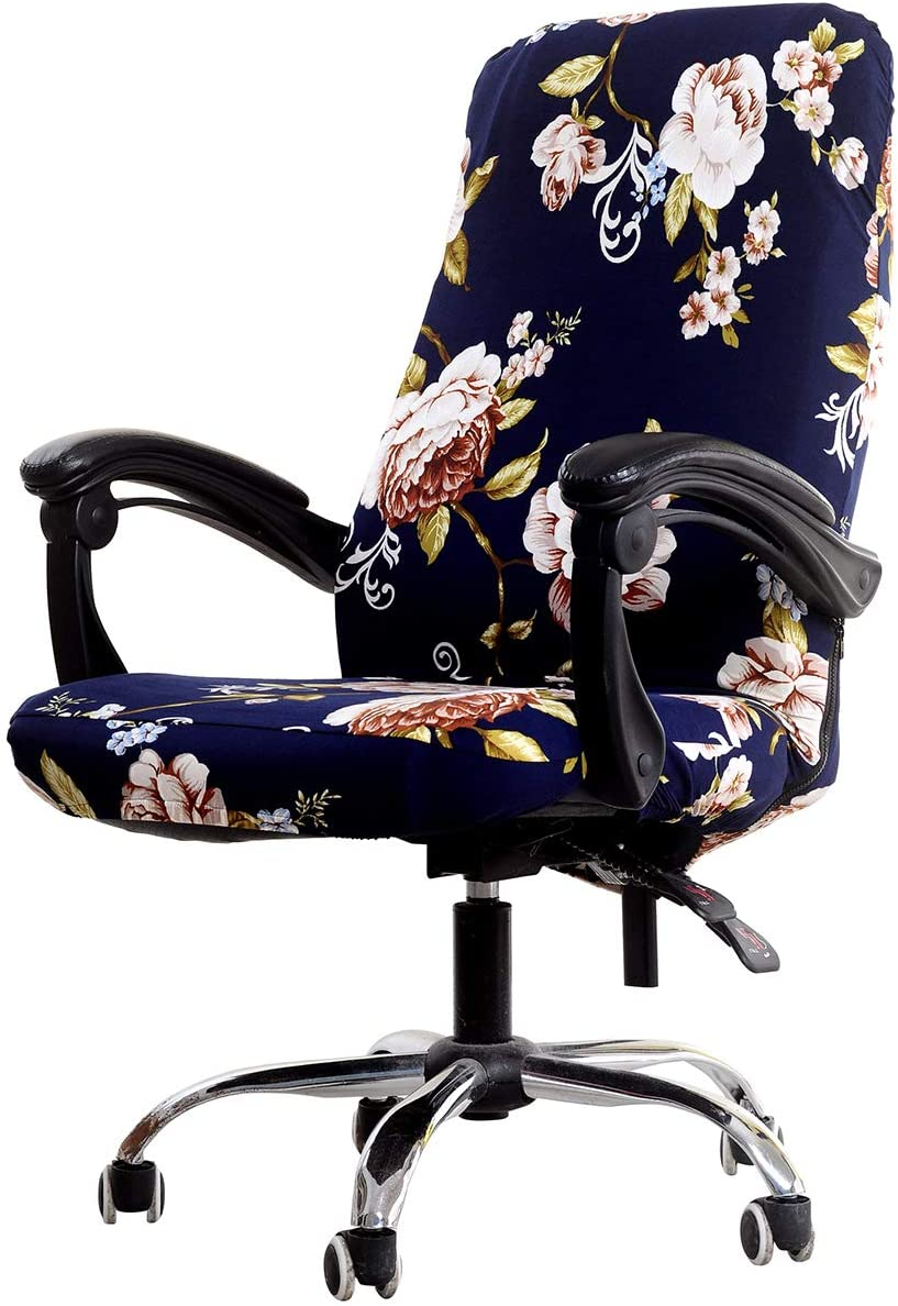 WOMACO Printed Office Chair Covers, Stretch Computer Chair Cover Universal Boss Chair Covers Modern Simplism Style High Back Chair Slipcover - Peony, Medium